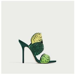 Zara Shoes - ZARA Green Wraparound Leather Leaf Sandals